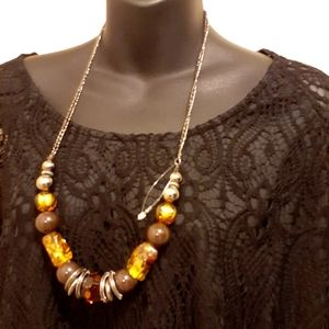 $5 Add-on Necklace with Amber toned Beads